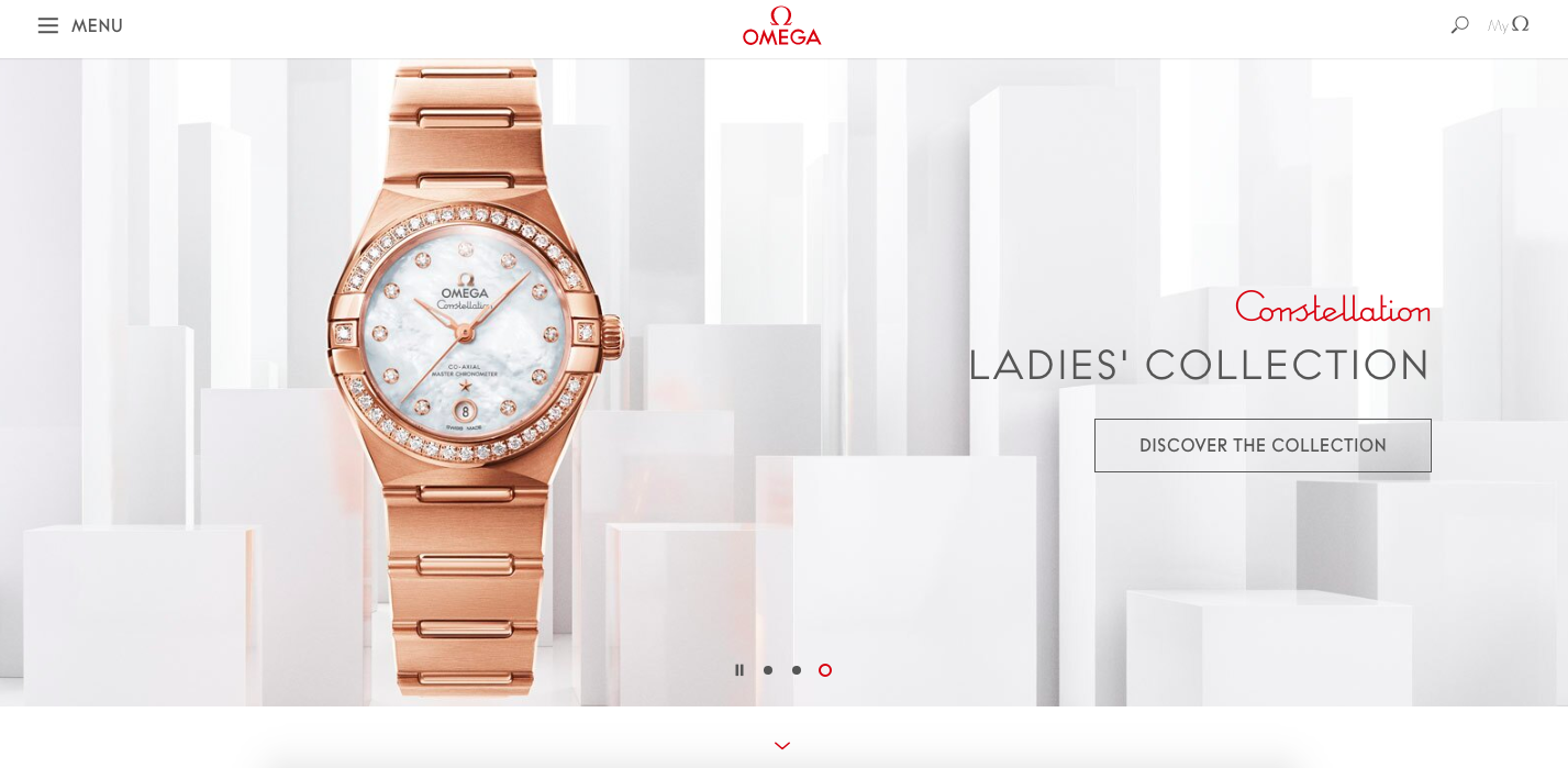 Omega watches homepage layout