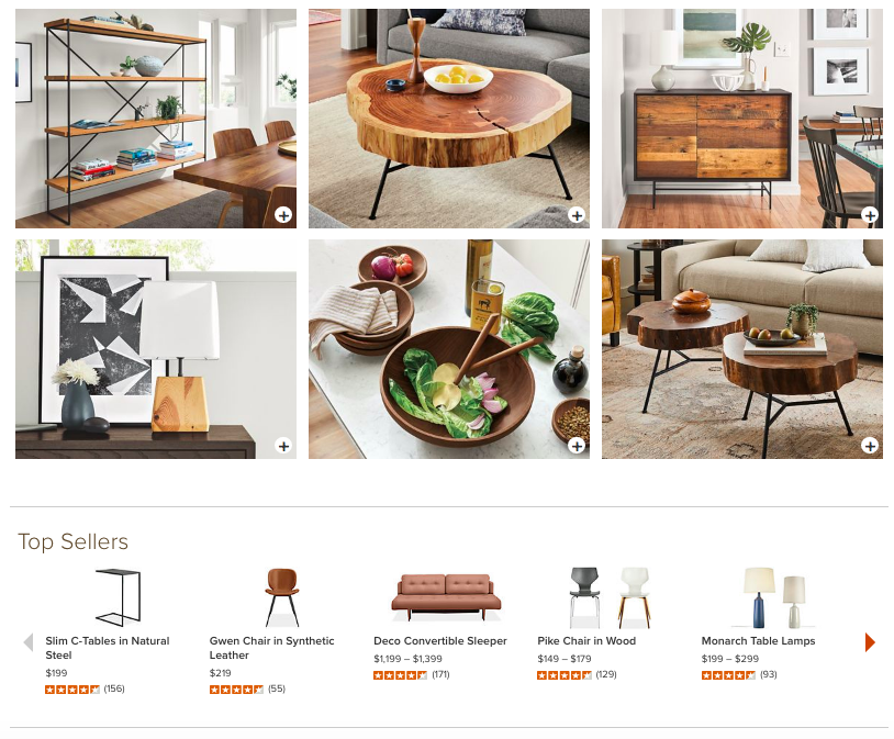 Room and board website layout top sellers