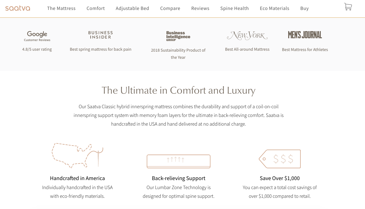 Saatva homepage layout