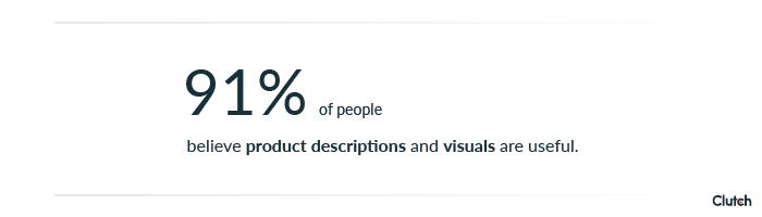 Clutch product descriptions and visuals callout
