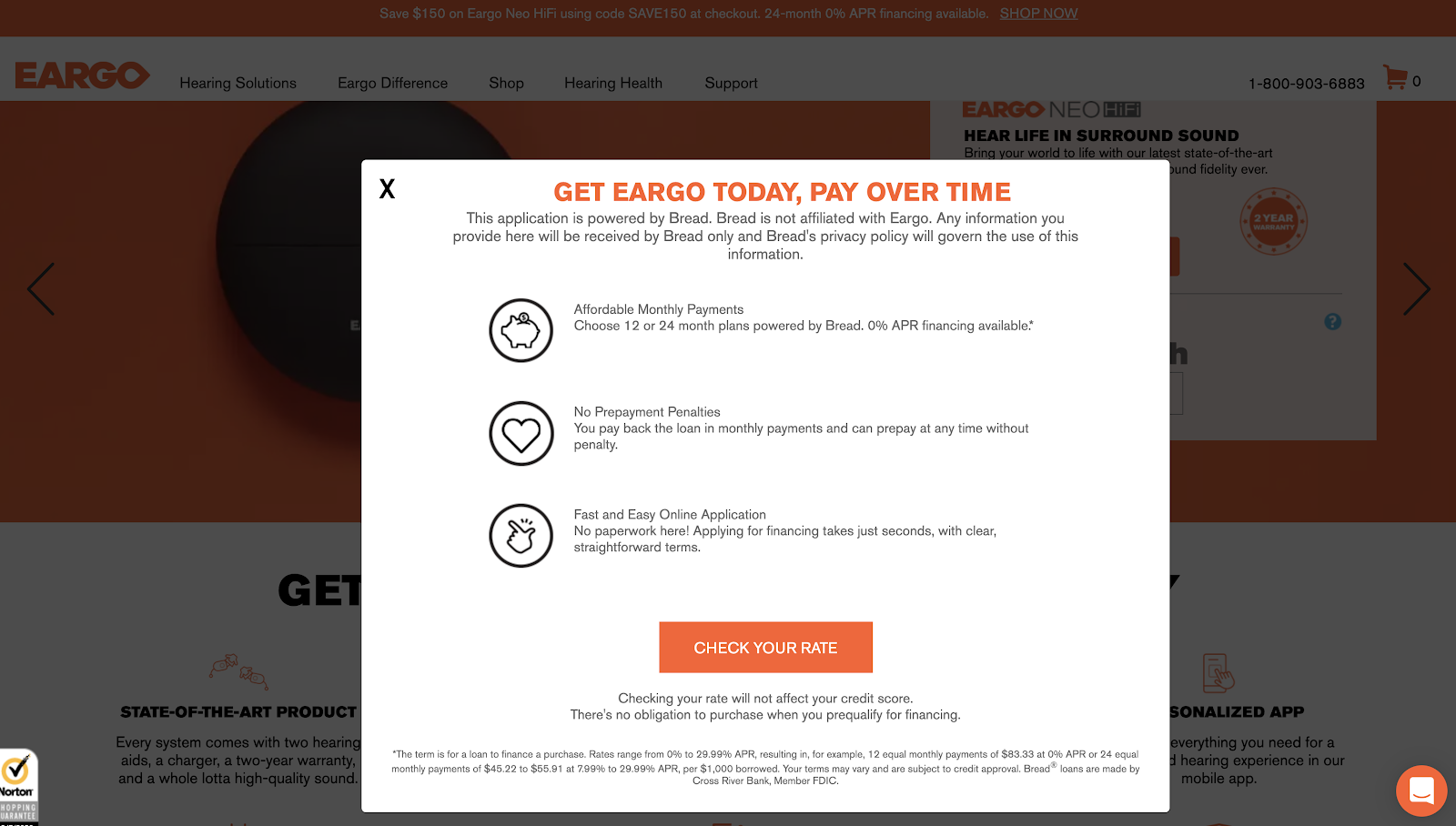 Eargo Buy Now Pay Later Checkout Page